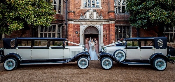 Our Ivory and Black 7 seat Bramwith wedding limousine with matching Badsworth
