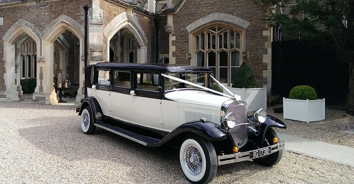Our 7 seat Bramwith wedding limousine in ivory and black