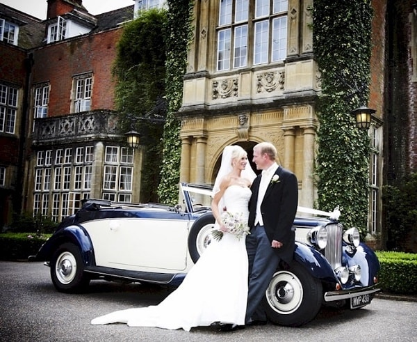 Our Jaguar drophead convertible in Navy Blue and Ivory