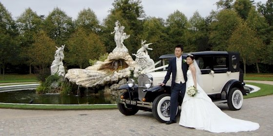 Badsworth wedding car at Cliveden, Taplow