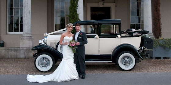 Badsworth wedding car at Wokefield Park in Berkshire