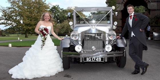 Imperial 7 seat limousine with bride and groom at the Elvetham