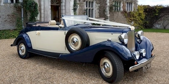 Jaguar Drophead in Ivory and Navy Blue