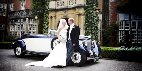Jaguar drophead with bride and groom