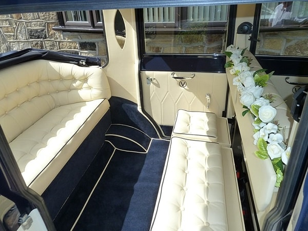 Interior of our Viscount 7 seat vintage style wedding limousine